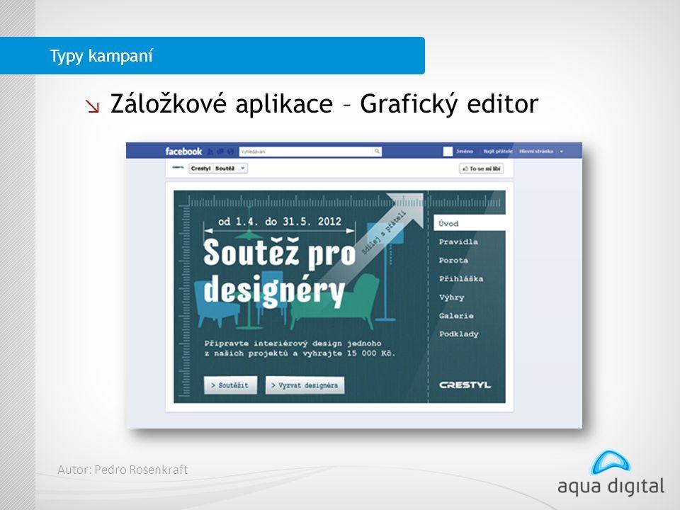 ↘ Záložkové aplikace – Grafický editor Typy kampaní Autor: Pedro Rosenkraft