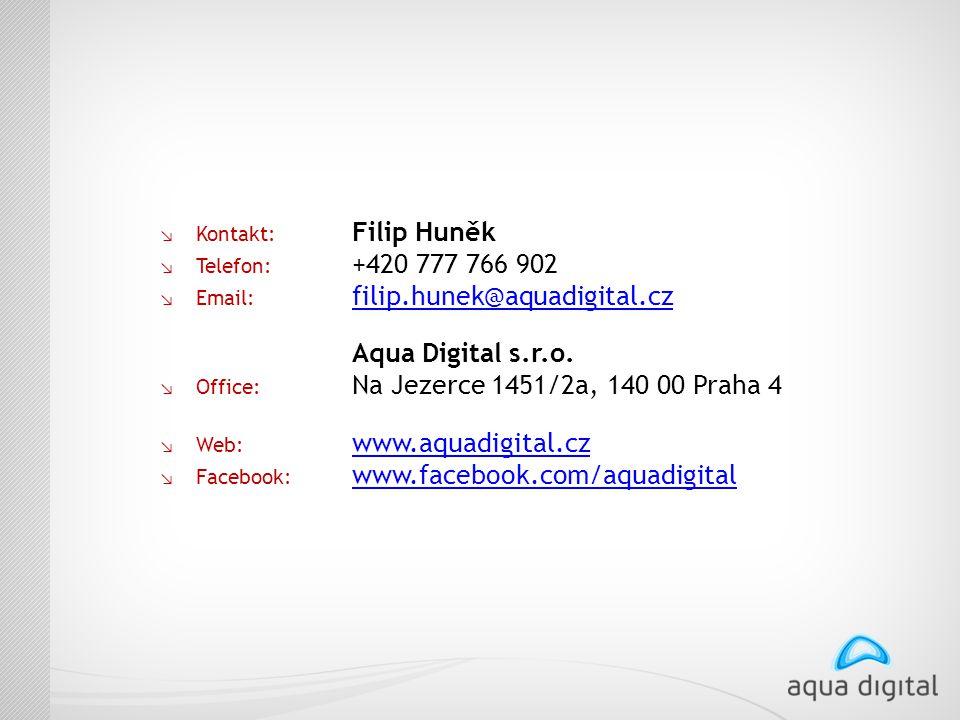 ↘ Kontakt: Filip Huněk ↘ Telefon: +420 777 766 902 ↘ Email: filip.hunek@aquadigital.cz filip.hunek@aquadigital.cz Aqua Digital s.r.o. ↘ Office: Na Jez