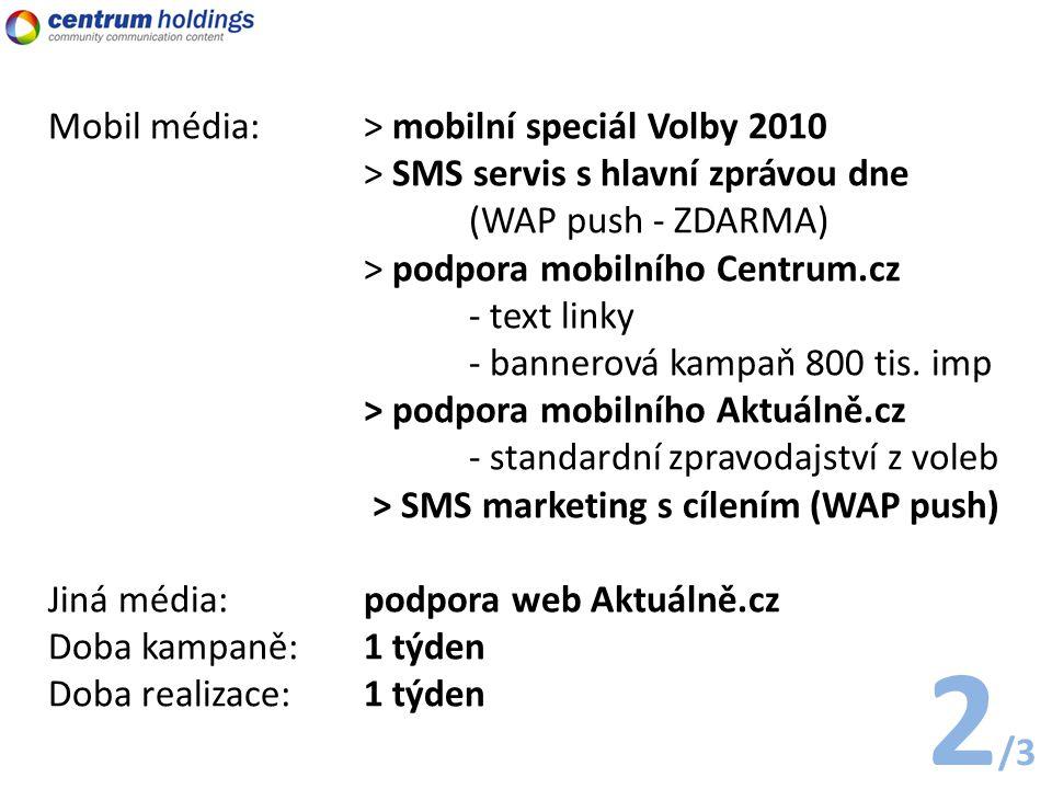 Mobil média: > mobilní speciál Volby 2010 > SMS servis s hlavní zprávou dne (WAP push - ZDARMA) > podpora mobilního Centrum.cz - text linky - bannerová kampaň 800 tis.