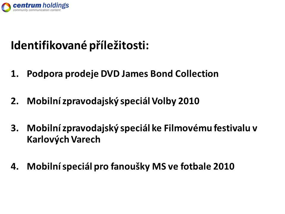 Identifikované příležitosti: 1.Podpora prodeje DVD James Bond Collection 2.Mobilní zpravodajský speciál Volby 2010 3.Mobilní zpravodajský speciál ke Filmovému festivalu v Karlových Varech 4.Mobilní speciál pro fanoušky MS ve fotbale 2010