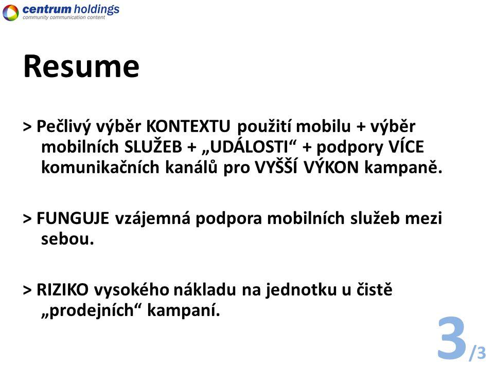 """Resume > Pečlivý výběr KONTEXTU použití mobilu + výběr mobilních SLUŽEB + """"UDÁLOSTI + podpory VÍCE komunikačních kanálů pro VYŠŠÍ VÝKON kampaně."""