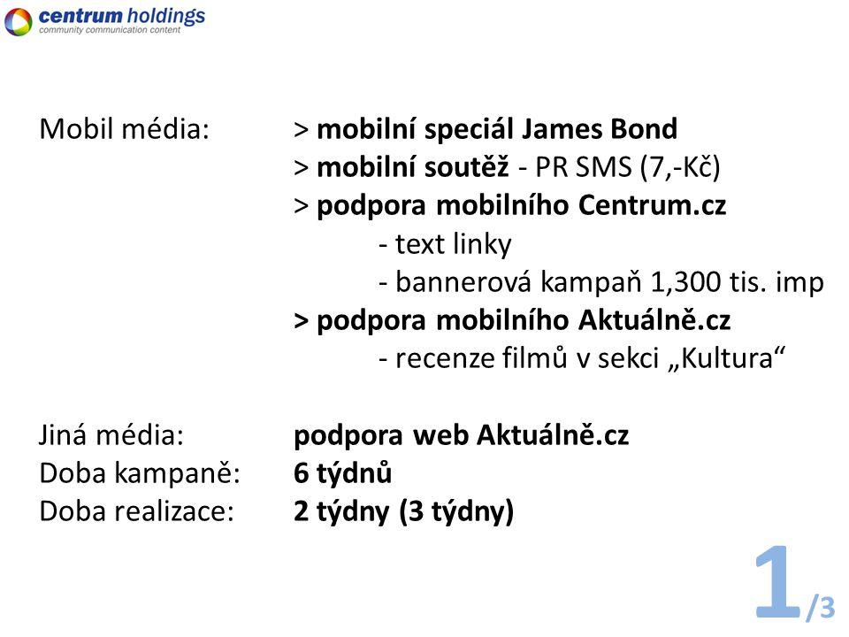 Mobil média: > mobilní speciál James Bond > mobilní soutěž - PR SMS (7,-Kč) > podpora mobilního Centrum.cz - text linky - bannerová kampaň 1,300 tis.