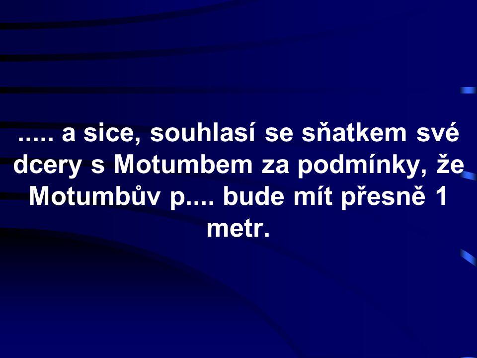 ..... a sice, souhlasí se sňatkem své dcery s Motumbem za podmínky, že Motumbův p.... bude mít přesně 1 metr.