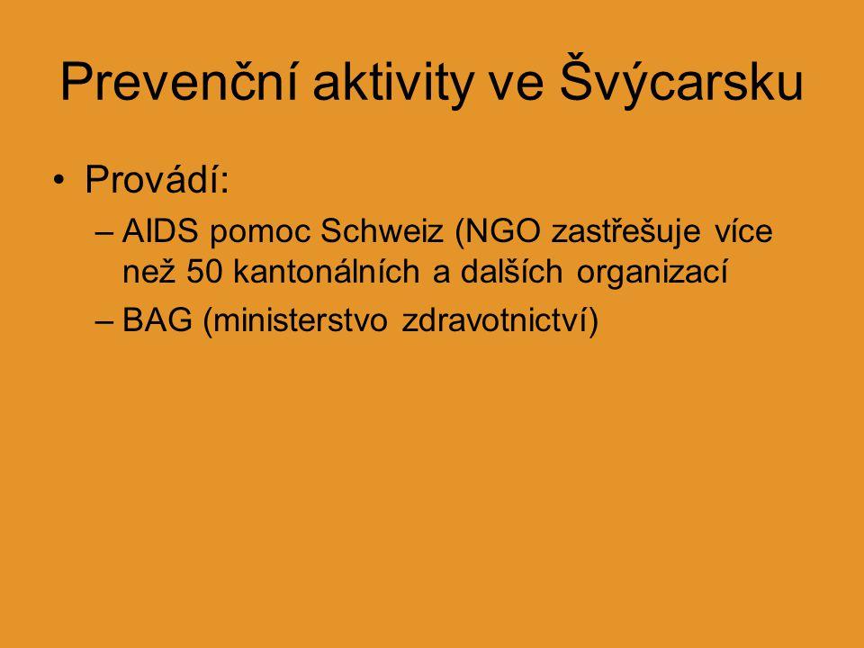 Prevenční aktivity ve Švýcarsku Provádí: –AIDS pomoc Schweiz (NGO zastřešuje více než 50 kantonálních a dalších organizací –BAG (ministerstvo zdravotn