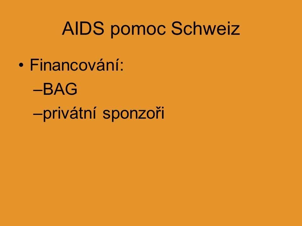 AIDS pomoc Schweiz Financování: –BAG –privátní sponzoři