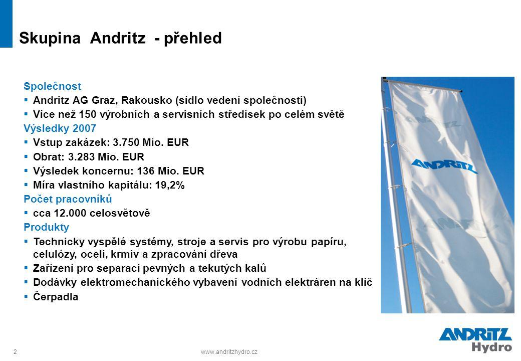 2www.andritzhydro.cz Skupina Andritz - přehled Společnost  Andritz AG Graz, Rakousko (sídlo vedení společnosti)  Více než 150 výrobních a servisních