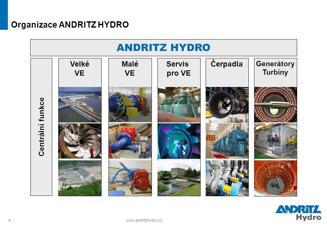 4www.andritzhydro.cz Organizace ANDRITZ HYDRO Generátory Turbíny ANDRITZ HYDRO Centrální funkce Velké VE Malé VE Servis pro VE Čerpadla