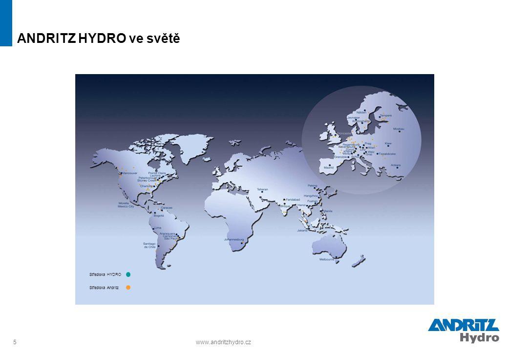 5www.andritzhydro.cz ANDRITZ HYDRO ve světě Střediska HYDRO Střediska Andritz