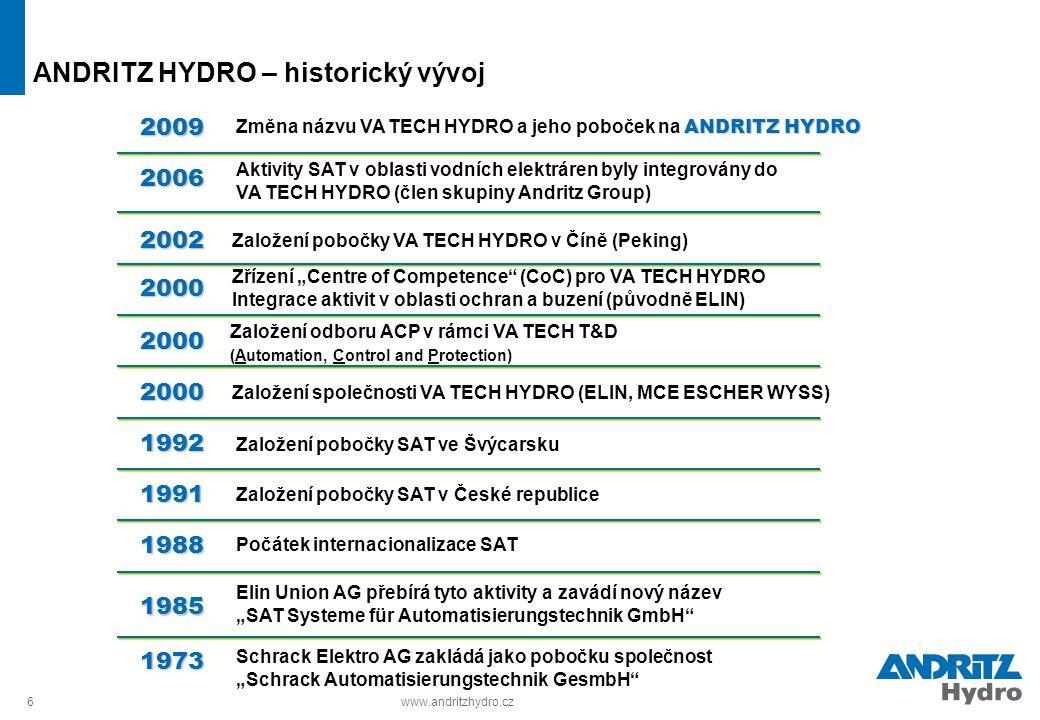 """6www.andritzhydro.cz ANDRITZ HYDRO – historický vývoj Schrack Elektro AG zakládá jako pobočku společnost """"Schrack Automatisierungstechnik GesmbH"""" Elin"""