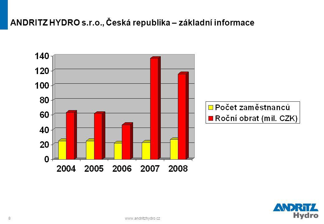 8www.andritzhydro.cz ANDRITZ HYDRO s.r.o., Česká republika – základní informace