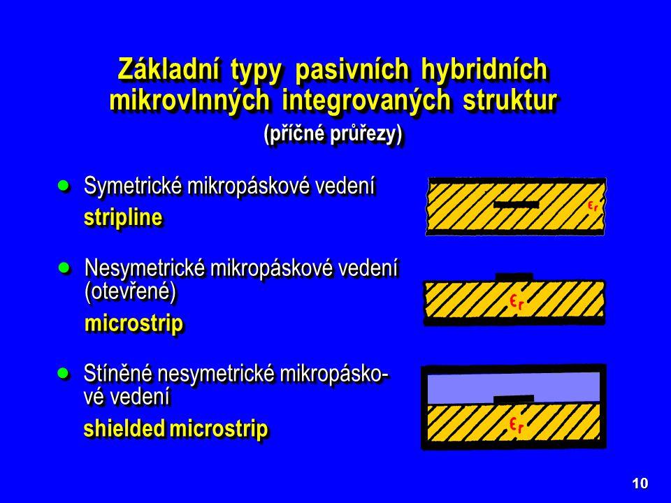 10 Základní typy pasivních hybridních mikrovlnných integrovaných struktur (příčné průřezy) Základní typy pasivních hybridních mikrovlnných integrovaný