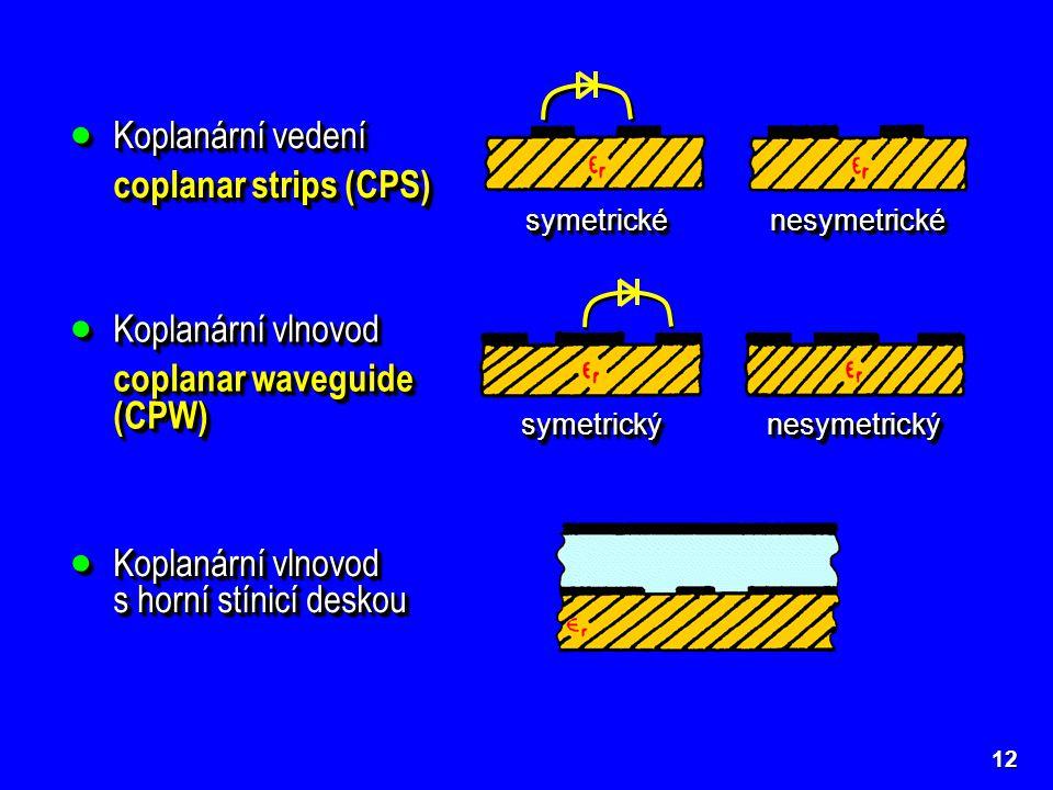 12  Koplanární vedení coplanar strips (CPS)  Koplanární vedení coplanar strips (CPS) symetrickésymetrické nesymetrickénesymetrické  Koplanární vlno