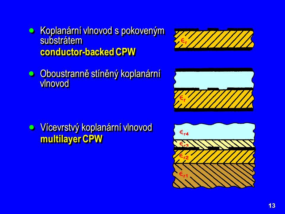 13  Koplanární vlnovod s pokoveným substrátem conductor-backed CPW  Koplanární vlnovod s pokoveným substrátem conductor-backed CPW  Oboustranně stí