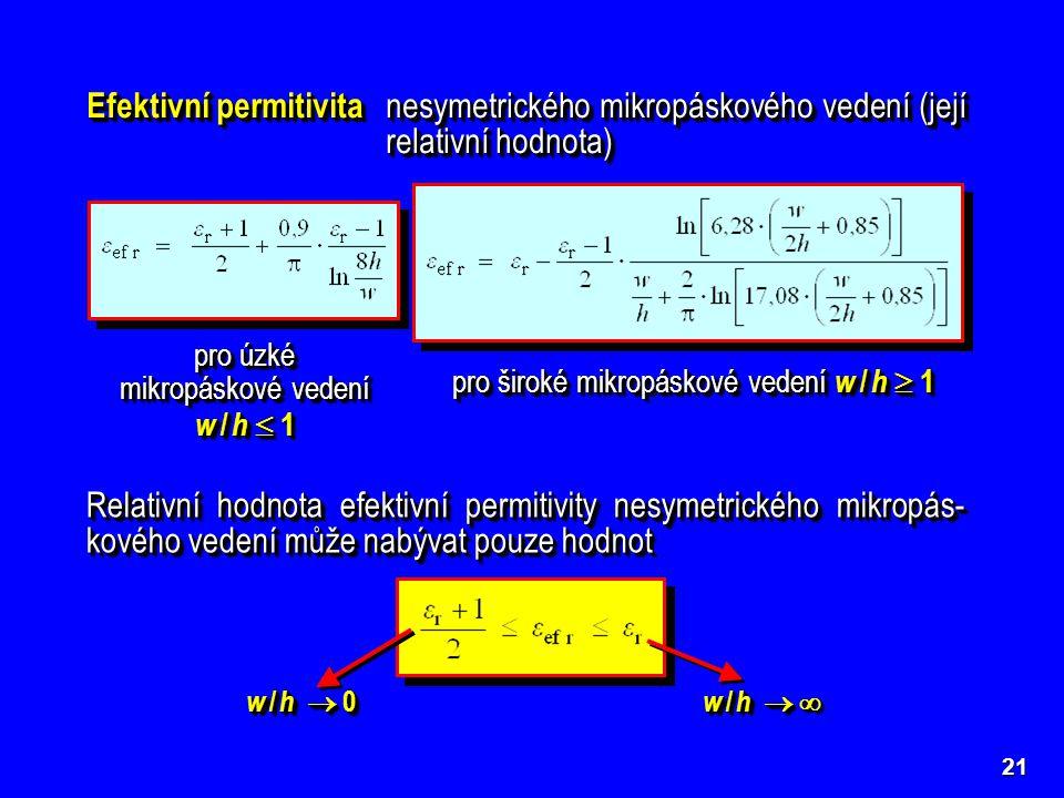 21 Efektivní permitivita nesymetrického mikropáskového vedení (její relativní hodnota) pro úzké mikropáskové vedení w / h  1 pro úzké mikropáskové ve