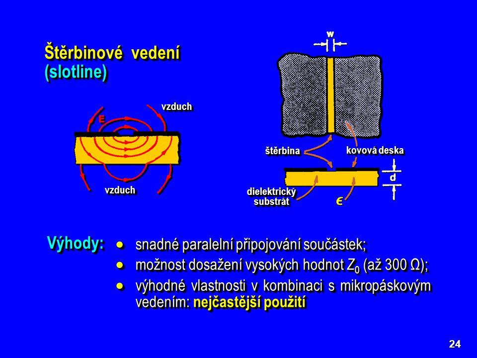 24 Štěrbinové vedení (slotline) dielektrický substrát štěrbinaštěrbina kovová deska vzduchvzduch vzduchvzduch Výhody:Výhody:  snadné paralelní připoj