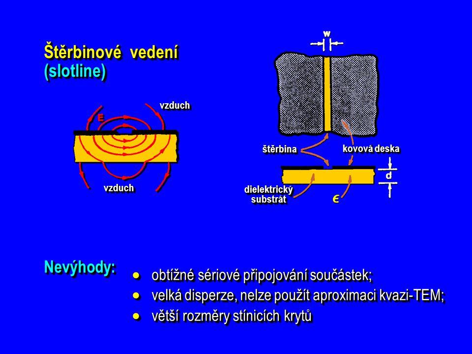 Štěrbinové vedení (slotline) dielektrický substrát štěrbinaštěrbina kovová deska vzduchvzduch vzduchvzduch Nevýhody:Nevýhody:  obtížné sériové připoj