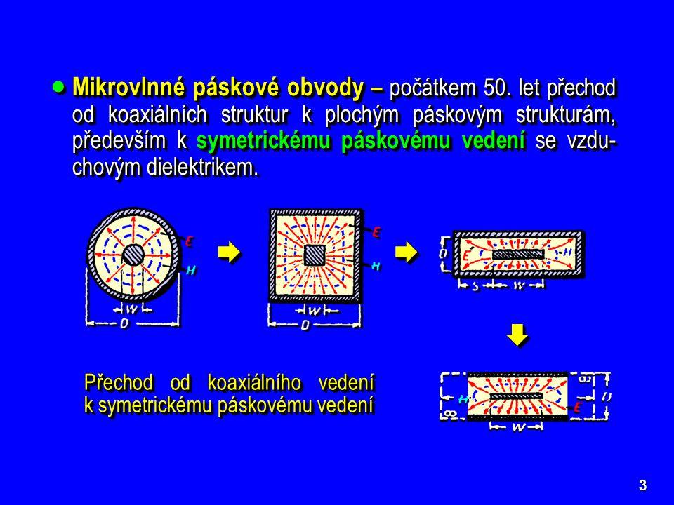 3  Mikrovlnné páskové obvody – počátkem 50. let přechod od koaxiálních struktur k plochým páskovým strukturám, především k symetrickému páskovému ved