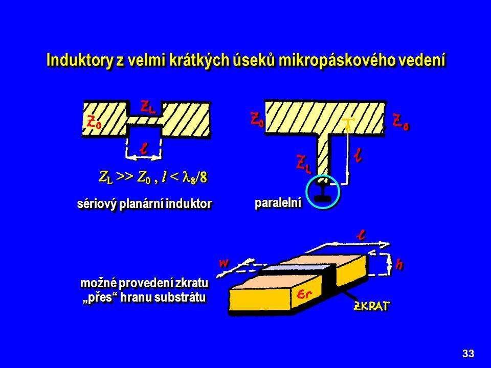 """33 Induktory z velmi krátkých úseků mikropáskového vedení sériový planární induktor paralelníparalelní možné provedení zkratu """"přes"""" hranu substrátu"""