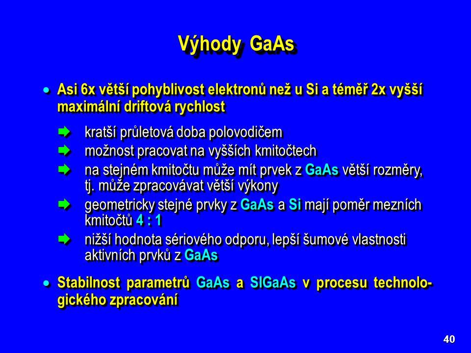 40 Výhody GaAs  Asi 6x větší pohyblivost elektronů než u Si a téměř 2x vyšší maximální driftová rychlost  kratší průletová doba polovodičem  možnos