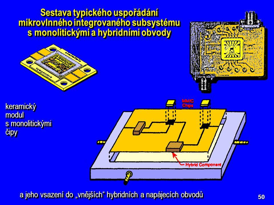 Sestava typického uspořádání mikrovlnného integrovaného subsystému s monolitickými a hybridními obvody keramický modul s monolitickými čipy keramický