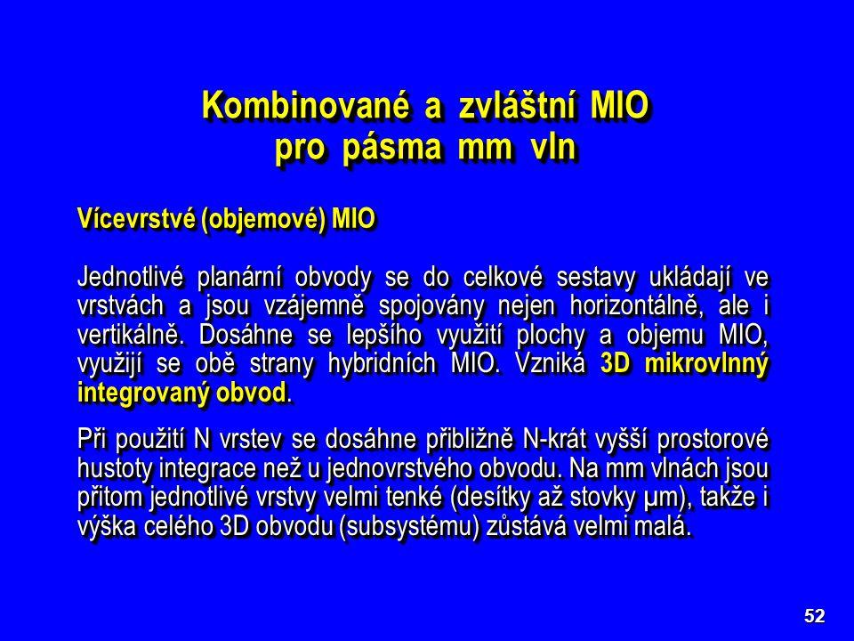 52 Kombinované a zvláštní MIO pro pásma mm vln Kombinované a zvláštní MIO pro pásma mm vln Vícevrstvé (objemové) MIO Jednotlivé planární obvody se do