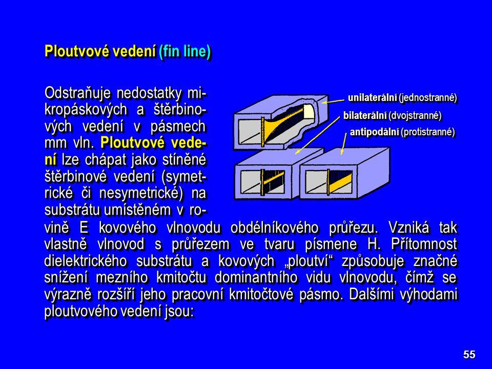 55 Ploutvové vedení (fin line) unilaterální (jednostranné) bilaterální (dvojstranné) antipodální (protistranné) Odstraňuje nedostatky mi- kropáskových