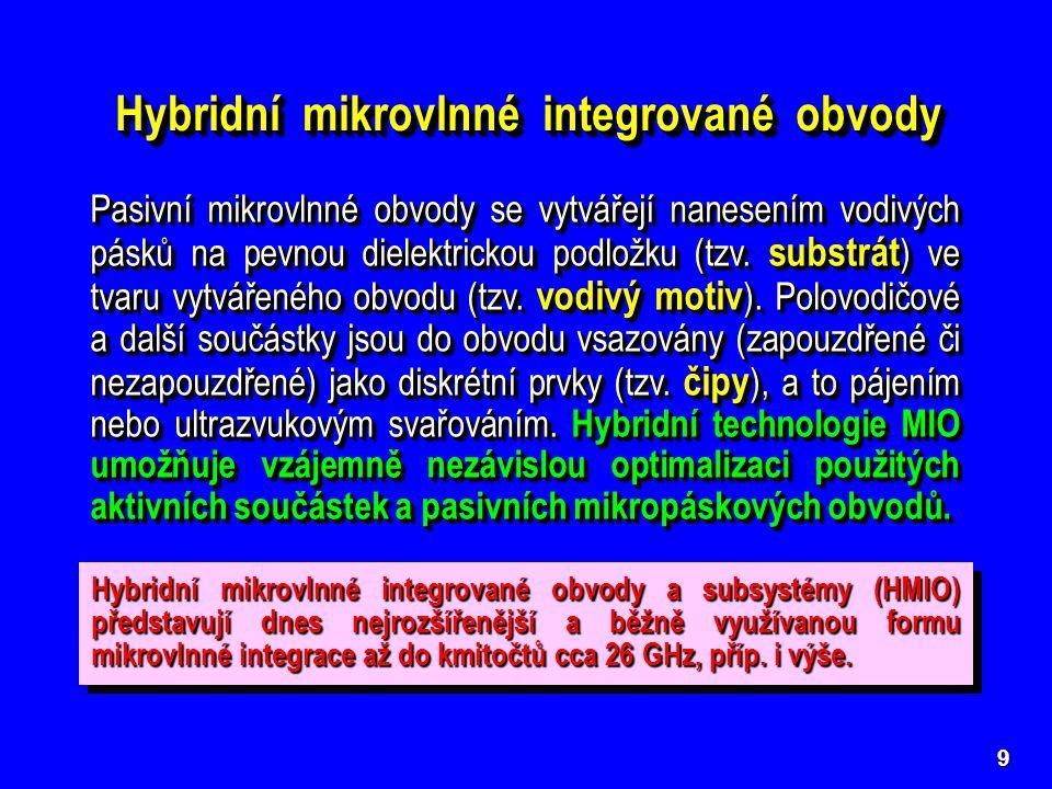 10 Základní typy pasivních hybridních mikrovlnných integrovaných struktur (příčné průřezy) Základní typy pasivních hybridních mikrovlnných integrovaných struktur (příčné průřezy)  Symetrické mikropáskové vedení stripline stripline  Nesymetrické mikropáskové vedení (otevřené) microstrip microstrip  Stíněné nesymetrické mikropásko- vé vedení shielded microstrip  Stíněné nesymetrické mikropásko- vé vedení shielded microstrip