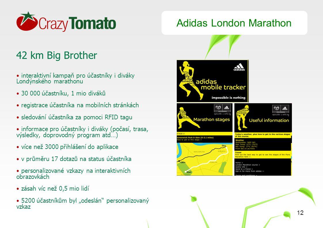 """12 Adidas London Marathon 42 km Big Brother interaktivní kampaň pro účastníky i diváky Londýnského marathonu 30 000 účastníku, 1 mio diváků registrace účastníka na mobilních stránkách sledování účastníka za pomoci RFID tagu informace pro účastníky i diváky (počasí, trasa, výsledky, doprovodný program atd…) více než 3000 přihlášení do aplikace v průměru 17 dotazů na status účastníka personalizované vzkazy na interaktivních obrazovkách zásah víc než 0,5 mio lidí 5200 účastníkům byl """"odeslán personalizovaný vzkaz"""