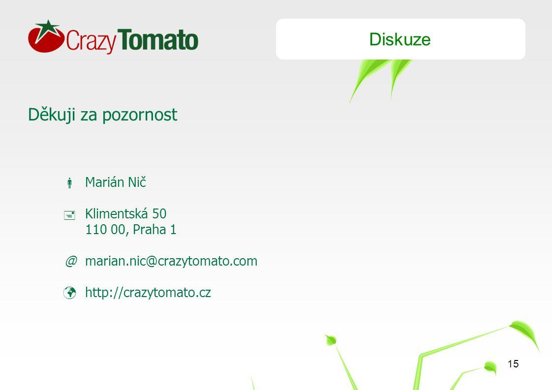 15 Diskuze Děkuji za pozornost  Marián Nič  Klimentská 50 110 00, Praha 1 @marian.nic@crazytomato.com http://crazytomato.cz