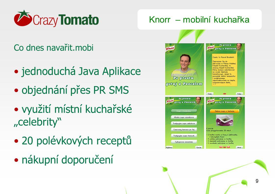 """9 Knorr – mobilní kuchařka Co dnes navařit.mobi jednoduchá Java Aplikace objednání přes PR SMS využití místní kuchařské """"celebrity 20 polévkových receptů nákupní doporučení"""
