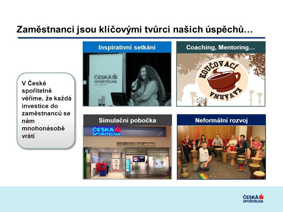 Zaměstnanci jsou klíčovými tvůrci našich úspěchů… Inspirativní setkání Coaching, Mentoring… Simulační pobočka Neformální rozvoj V České spořitelně věříme, že každá investice do zaměstnanců se nám mnohonásobě vrátí