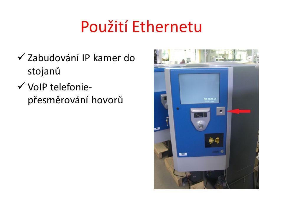 Použití Ethernetu Zabudování IP kamer do stojanů VoIP telefonie- přesměrování hovorů