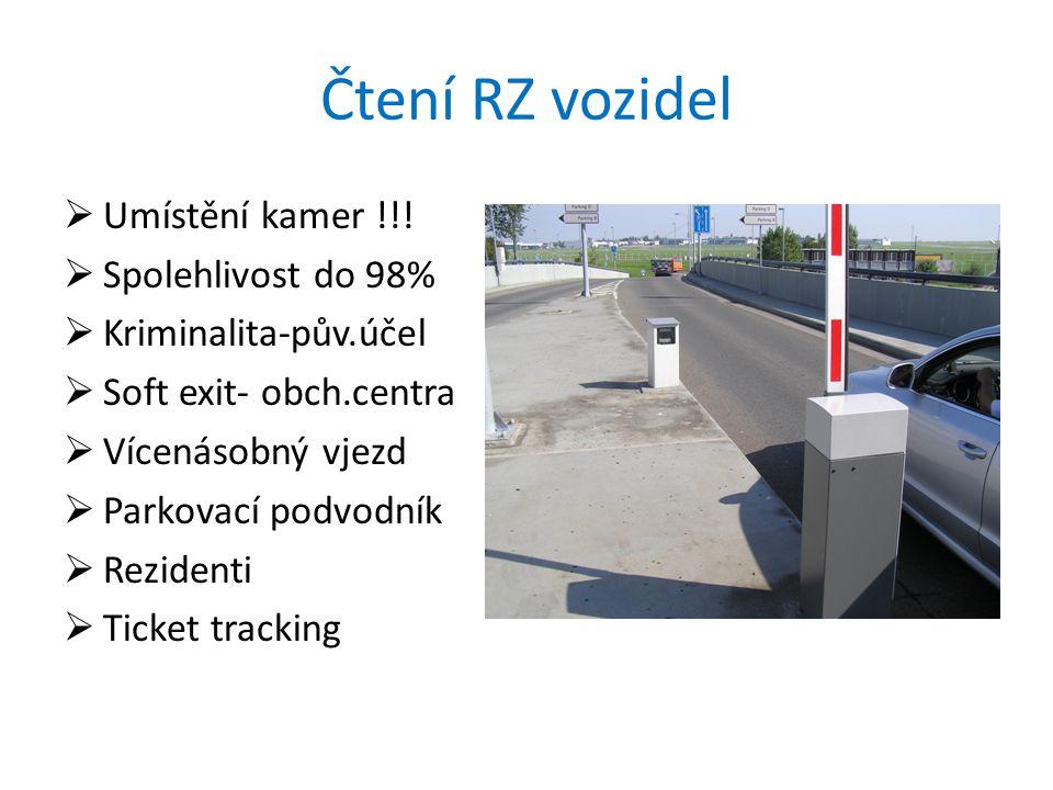 Čtení RZ vozidel  Umístění kamer !!.
