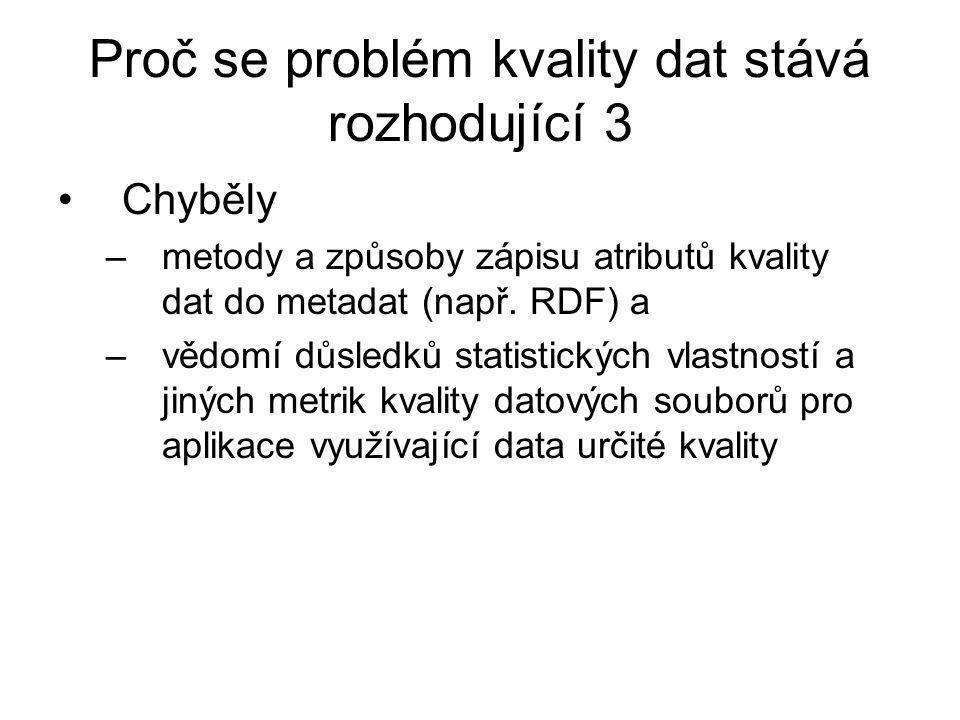 Proč se problém kvality dat stává rozhodující 3 Chyběly –metody a způsoby zápisu atributů kvality dat do metadat (např.