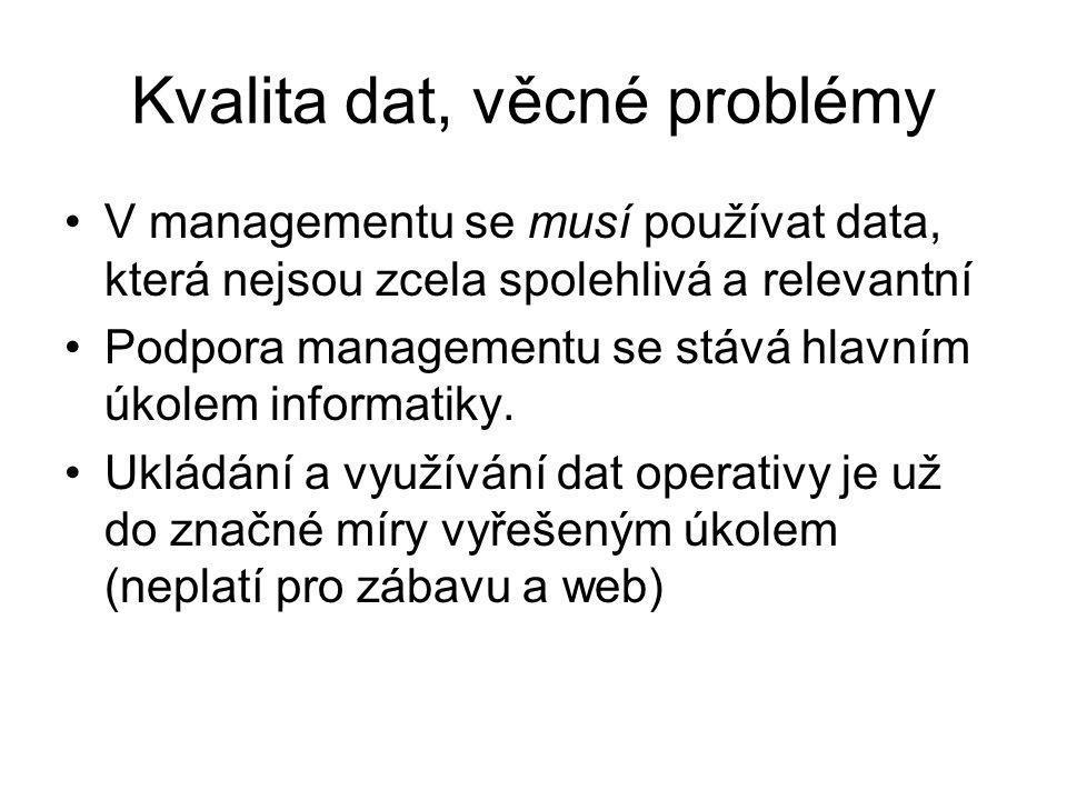 Kvalita dat, věcné problémy V managementu se musí používat data, která nejsou zcela spolehlivá a relevantní Podpora managementu se stává hlavním úkolem informatiky.