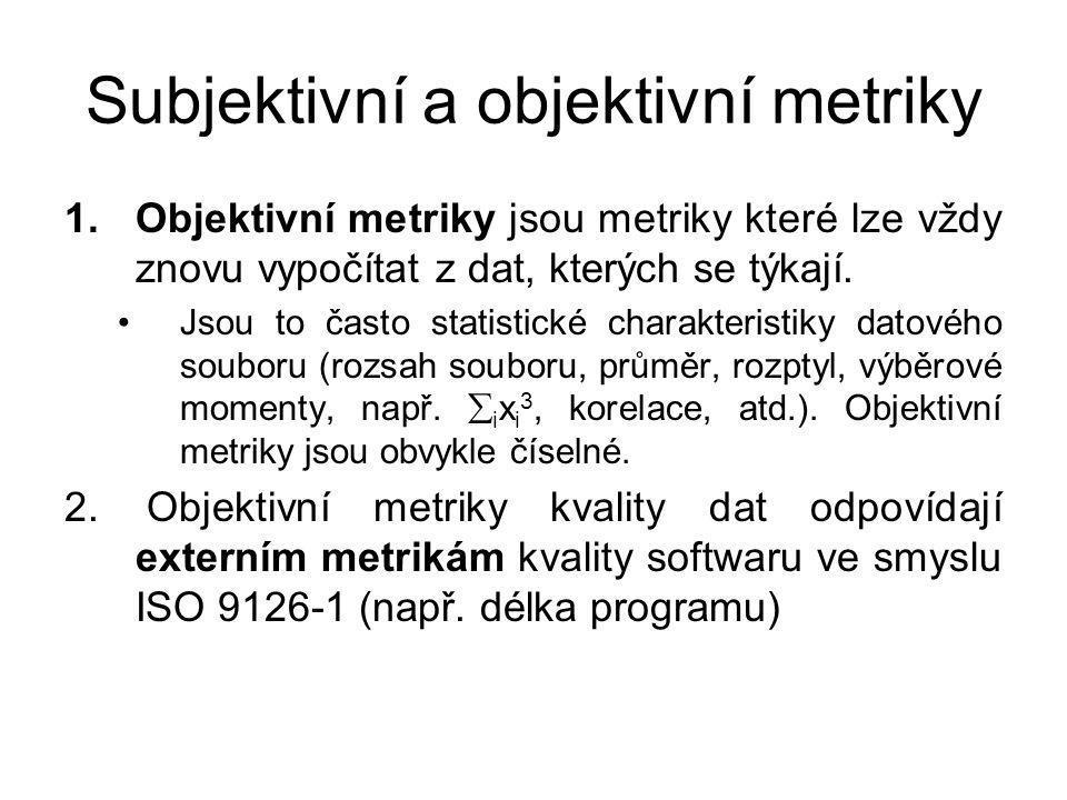 Subjektivní a objektivní metriky 1.Objektivní metriky jsou metriky které lze vždy znovu vypočítat z dat, kterých se týkají.