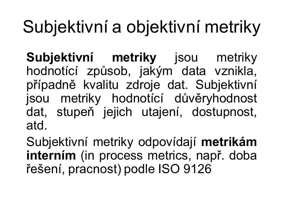 Subjektivní a objektivní metriky Subjektivní metriky jsou metriky hodnotící způsob, jakým data vznikla, případně kvalitu zdroje dat.