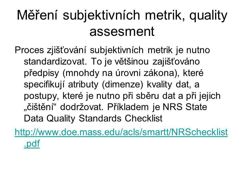 Měření subjektivních metrik, quality assesment Proces zjišťování subjektivních metrik je nutno standardizovat.