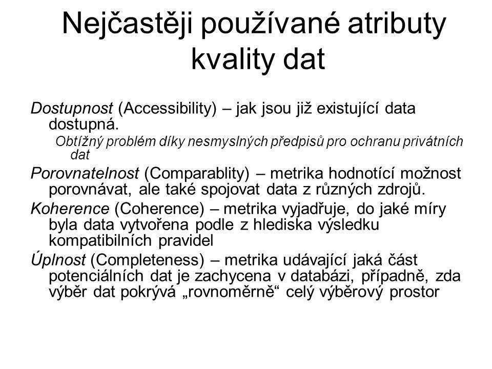 Nejčastěji používané atributy kvality dat Dostupnost (Accessibility) – jak jsou již existující data dostupná.