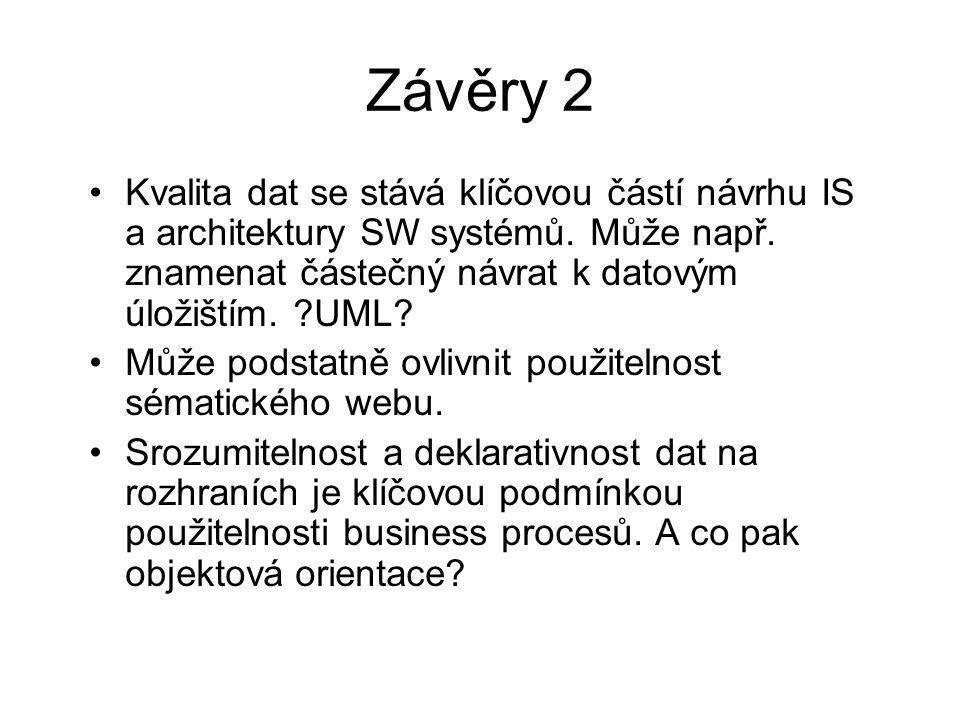 Závěry 2 Kvalita dat se stává klíčovou částí návrhu IS a architektury SW systémů.