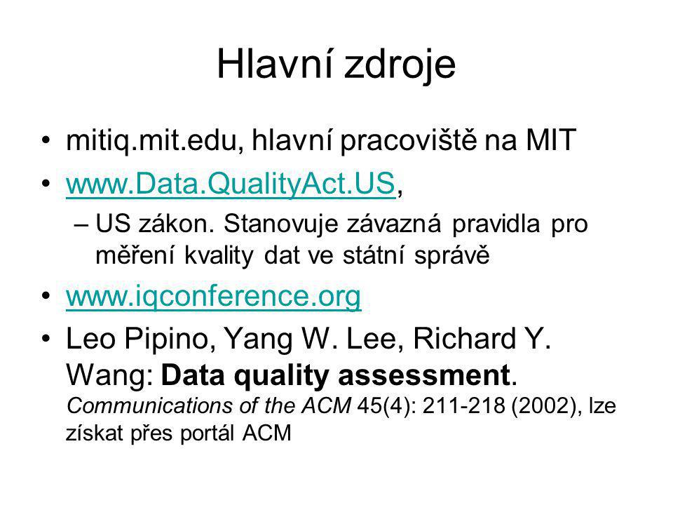 Hlavní zdroje mitiq.mit.edu, hlavní pracoviště na MIT www.Data.QualityAct.US,www.Data.QualityAct.US –US zákon.