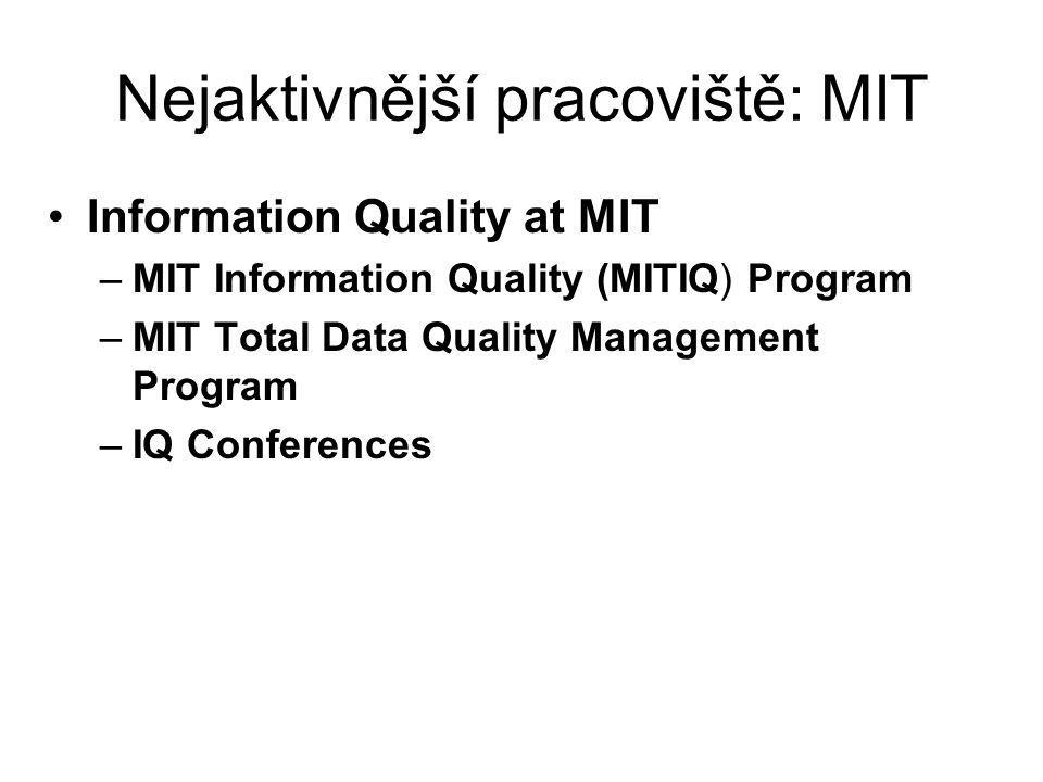 Nejaktivnější pracoviště: MIT Information Quality at MIT –MIT Information Quality (MITIQ) Program –MIT Total Data Quality Management Program –IQ Confe