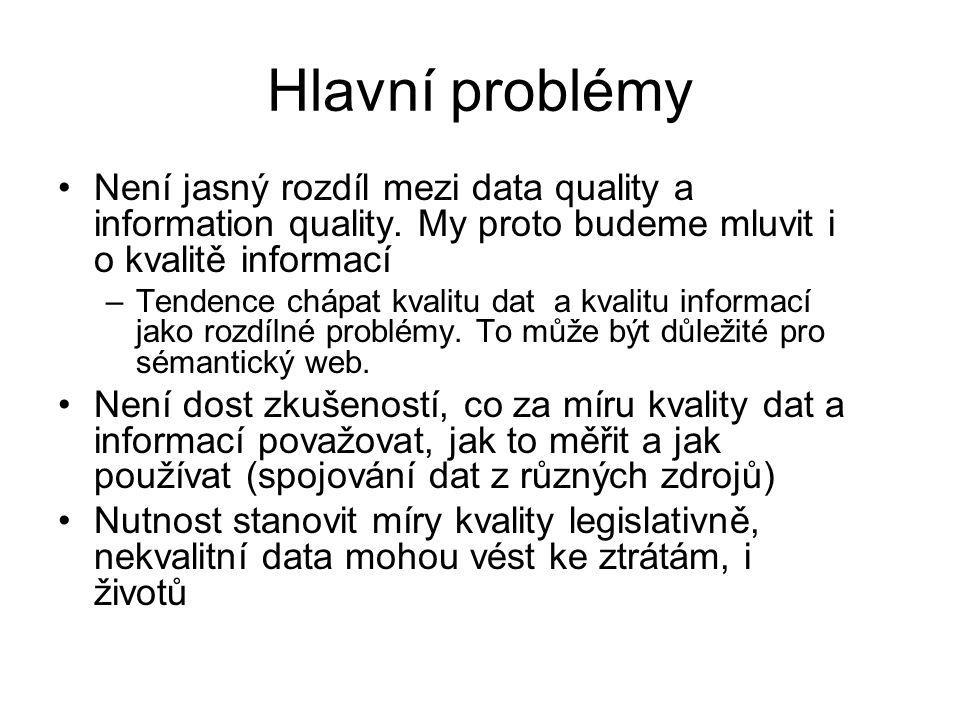 Hlavní problémy Není jasný rozdíl mezi data quality a information quality.