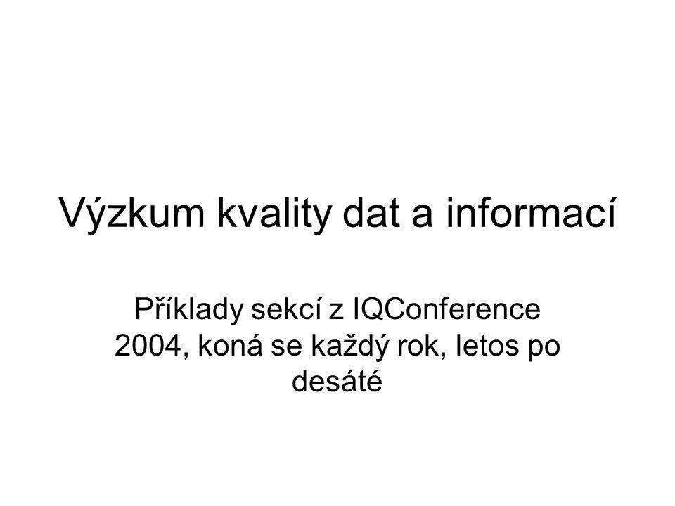 Výzkum kvality dat a informací Příklady sekcí z IQConference 2004, koná se každý rok, letos po desáté