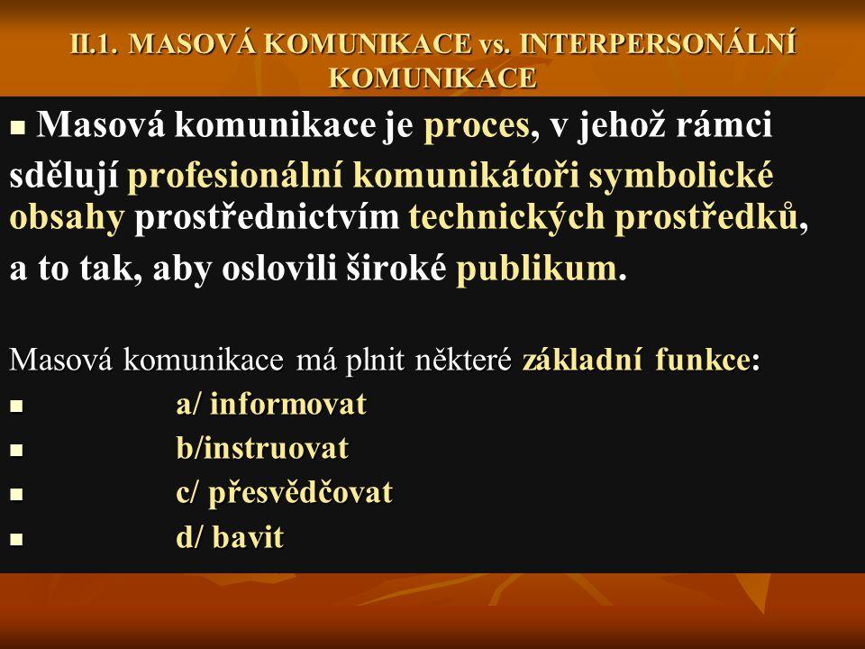 II.1.MASOVÁ KOMUNIKACE vs.