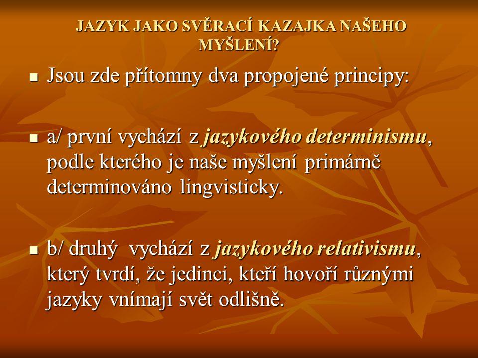 JAZYK JAKO SVĚRACÍ KAZAJKA NAŠEHO MYŠLENÍ.JAZYK JAKO SVĚRACÍ KAZAJKA NAŠEHO MYŠLENÍ.