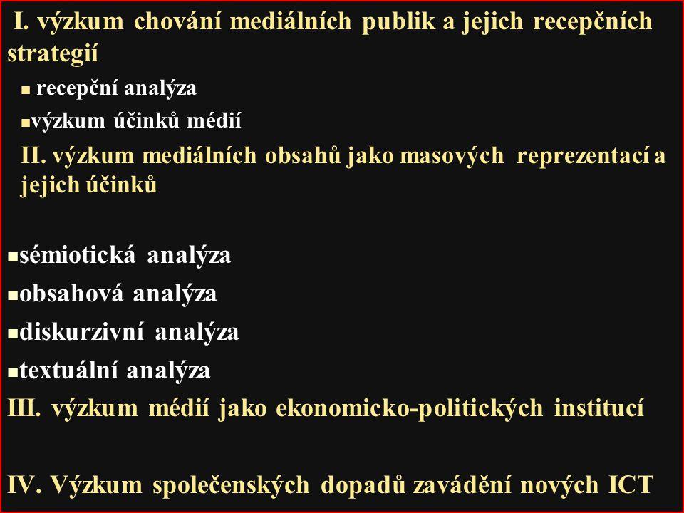I. výzkum chování mediálních publik a jejich recepčních strategií recepční analýza výzkum účinků médií II. výzkum mediálních obsahů jako masových repr