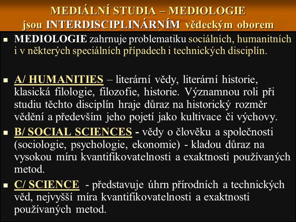MEDIÁLNÍ STUDIA – MEDIOLOGIE jsou INTERDISCIPLINÁRNÍM vědeckým oborem MEDIOLOGIE zahrnuje problematiku sociálních, humanitních i v některých speciálních případech i technických disciplín.
