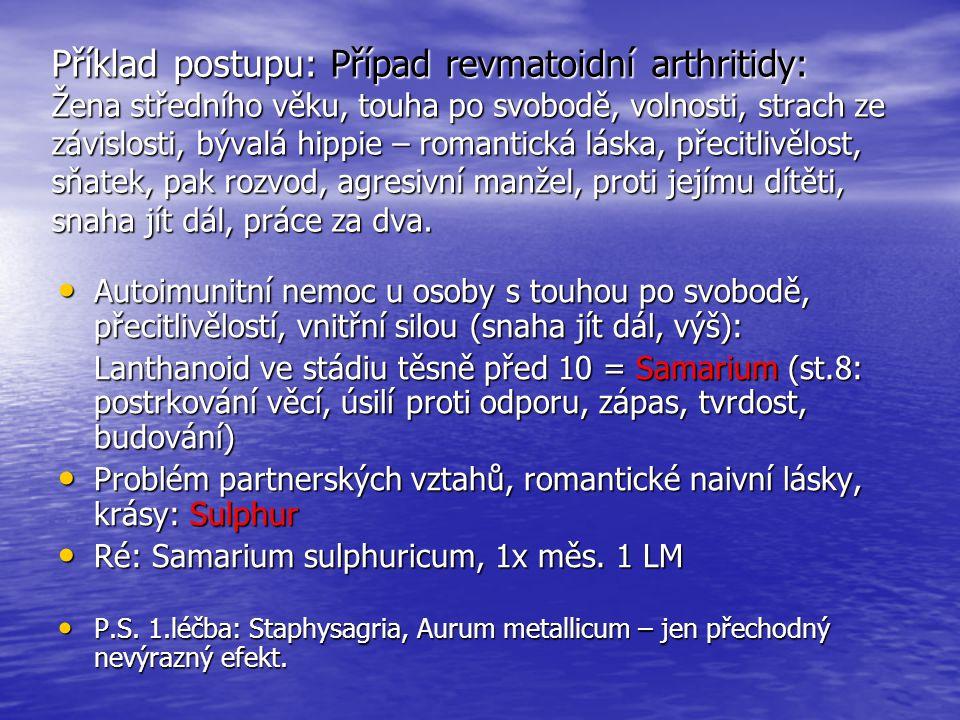 Příklad postupu: Případ revmatoidní arthritidy: Žena středního věku, touha po svobodě, volnosti, strach ze závislosti, bývalá hippie – romantická lásk
