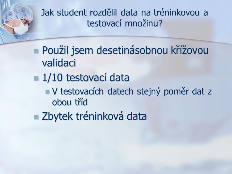 Jak student rozdělil data na tréninkovou a testovací množinu? Použil jsem desetinásobnou křížovou validaci Použil jsem desetinásobnou křížovou validac
